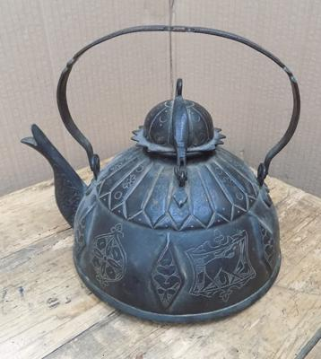 Antique Middle Eastern solid bronze kettle