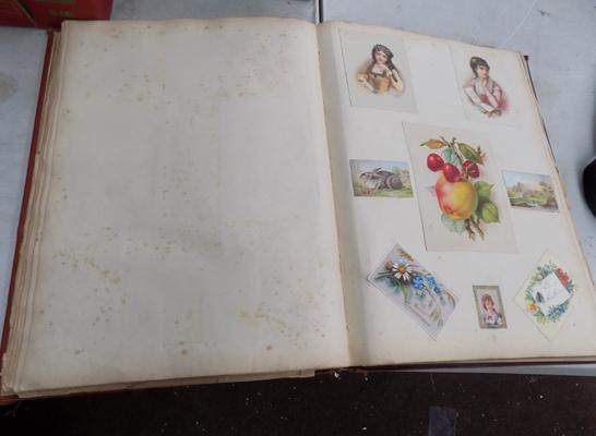 Vintage scrap book and various inserts incl. hand finished cards