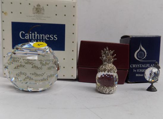 One Caithness, one box of Swarovski & one box of crystal flame paperweights