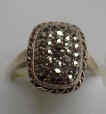 925 silver vintage marcasite ring, size L 1/2