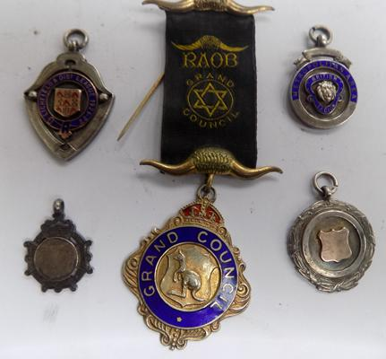 Four silver fobs + silver lodge medal