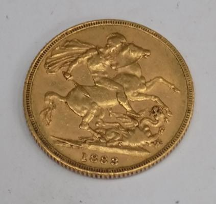 22ct gold Young Head, full Sovereign (1883)