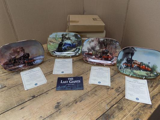 4 x Davenport Pottery railway plates - 'The Last Giants' all with certificates