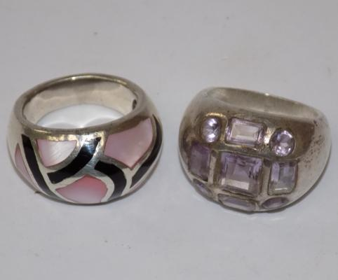 Two heavy silver rings, 24 grams