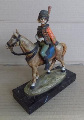 Young Napoleon on horseback, on Macara marble plinth