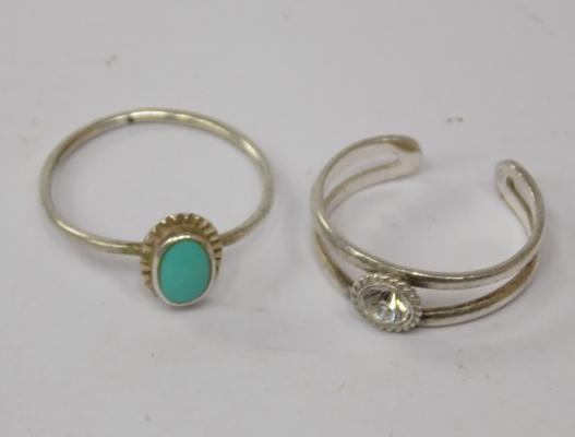 2 sterling silver rings - size L + one toe ring