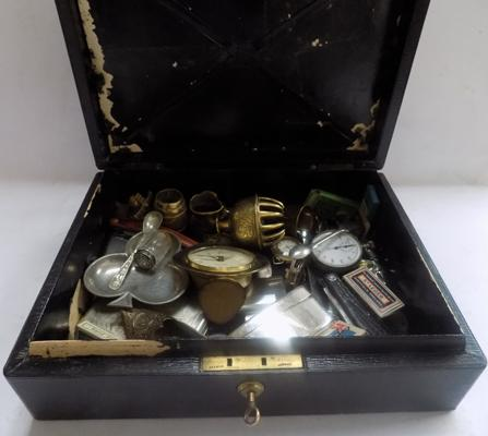 Antique lockable deed box with key containing vintage collectables, pocket watches, silver, penknives etc.
