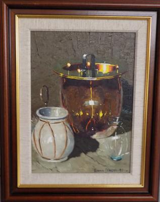 Framed oil painting of 3 vessels