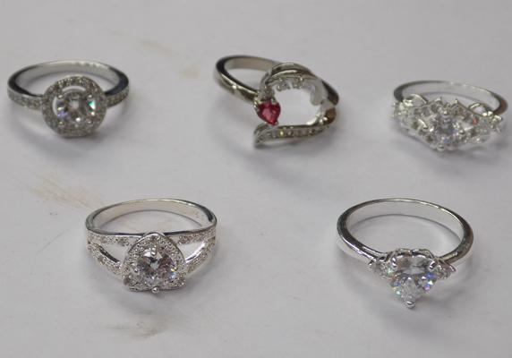 5x silver rings - all stamped 925