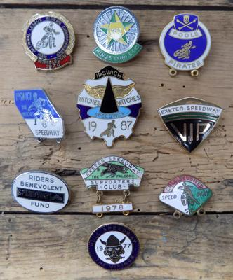 Collection of vintage 1970's Speedway enameled badges