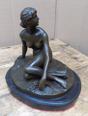 Antique French bronze on marble by artist - Peter Brever
