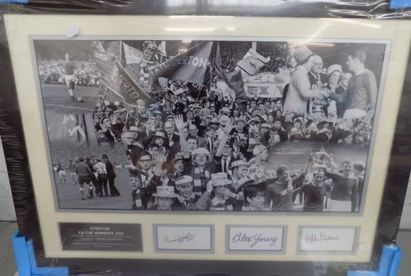 Everton Montage signed by Brian Labane, Alex Young and Mike Trebilcock - with COA on back