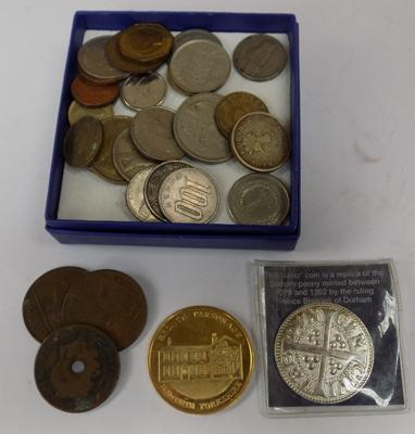 Selection of coins incl. silver replica Durham penny