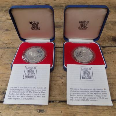 2x 1977 silver proof crowns in original royal mint coin boxes and certificates