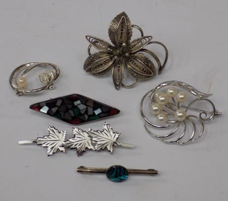 6 sterling silver vintage brooches