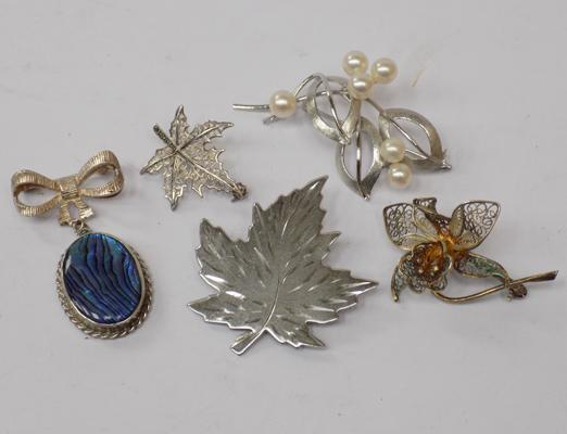 5 sterling silver vintage brooches