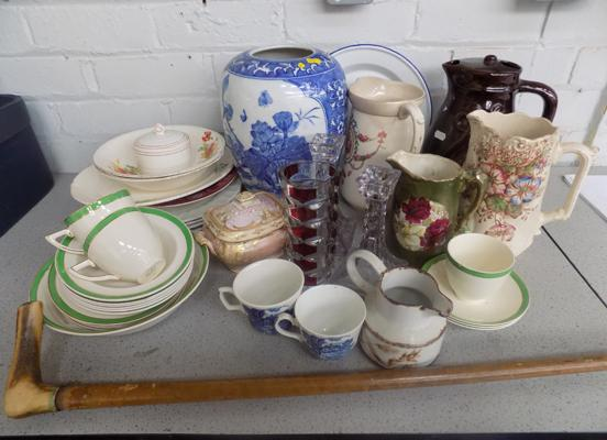 Large selection of collectables incl. walking stick and ceramics