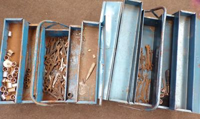 Two metal tool boxes & collection of spanners & sockets