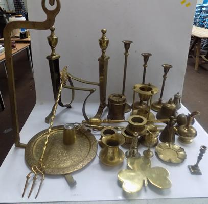 Box of vintage and antique brassware incl. antique brass poker stand