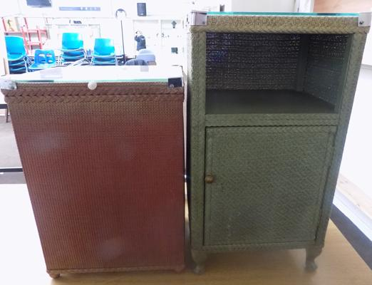 2 Lloyd Loom style side cabinets/ linen boxes