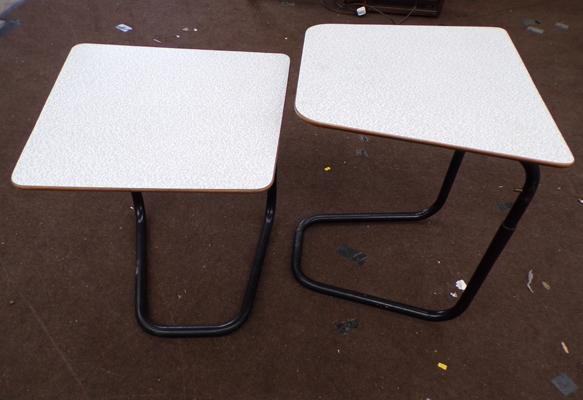 Pair of Staples cantilever tables