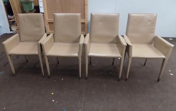 Set of 4 Italian leather frag designer chairs