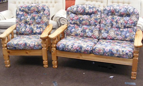 Cottage style two seater sofa and chair