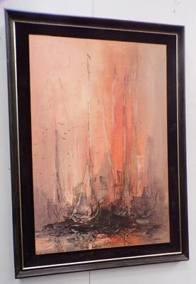 Large framed print of sailing ships by Garcia
