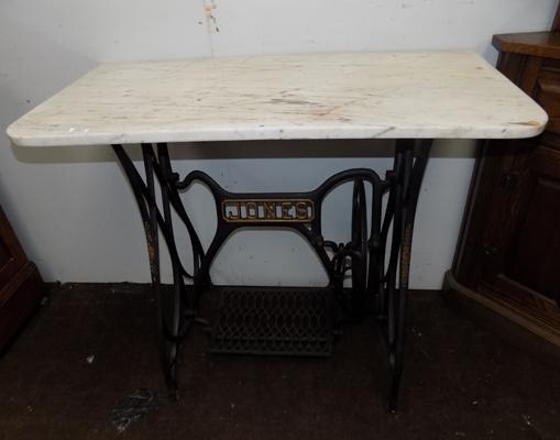 Cast iron Jones' table with marble top