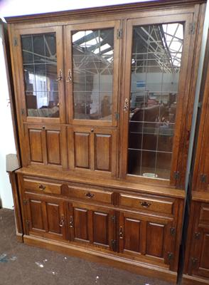 Luptons Oak Furniture, large glass topped cabinet