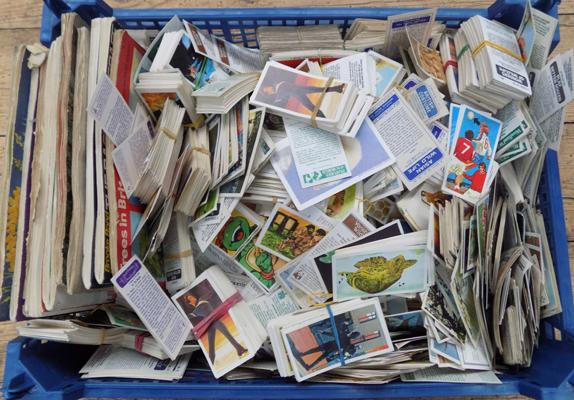 Tray of cigarette cards