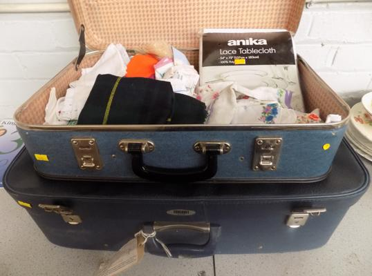 2 vintage suitcases - one filled with vintage linen