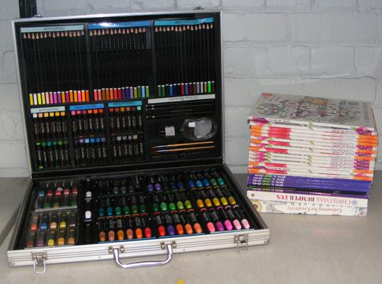 Box of adult colouring books & case of colouring pens etc...