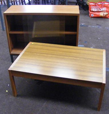 Glass fronted bookcase & coffee table