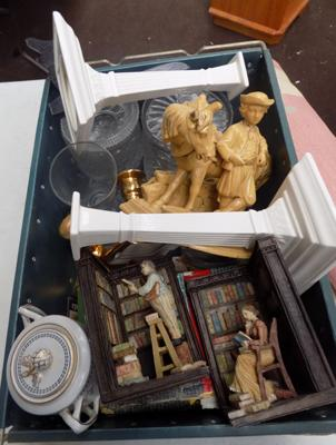 Box of mixed ornaments, incl. Leeds ware candle sticks