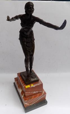 Art Deco bronze lady on marble base with foundry mark - D.H. Chiparus, 19 1/2 inches tall