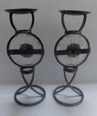 "Pair of antique Arts and Crafts glass and metal candlesticks - 12"" high"