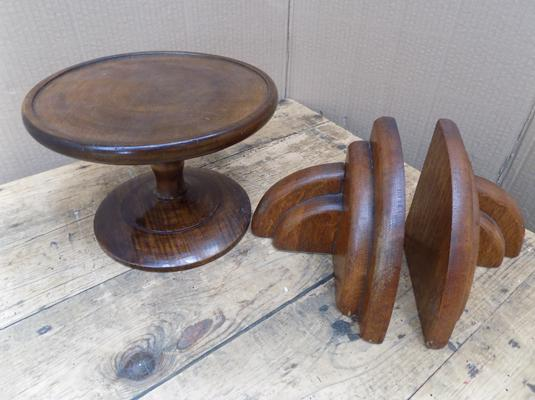 Genuine 1930's Art Deco - solid wood bookends & cake stand