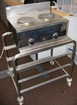 Stainless steel trolley + two ring hob - W/O