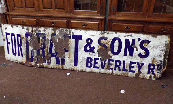 Enameled sign, approx. 2 feet by 8 feet, 'Graft & Sons, Beverley Road'