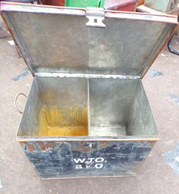 Metal box - possibly ex-ammo box, 20 x 13 inches by 14 inches tall