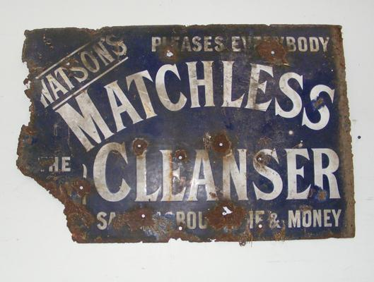 Vintage 'Watson's Matchless Cleanser' metal & enamel sign