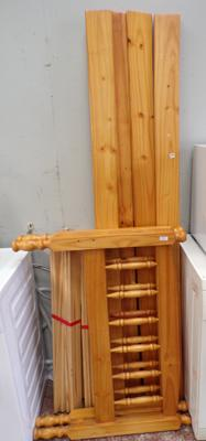 Two single pine bed frames