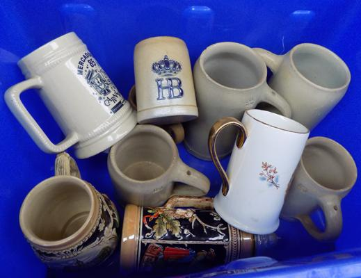 Box of stoneware tankards and others