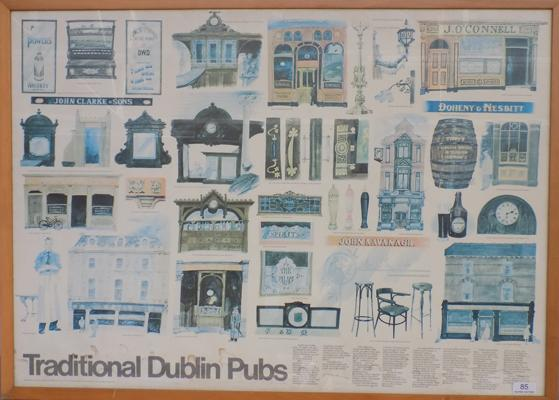 Framed print of traditional Dublin pubs