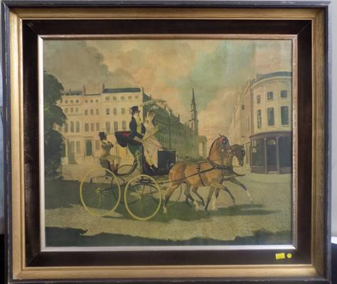 Over painted print on canvas in original vintage frame - signed D. Zinkeison