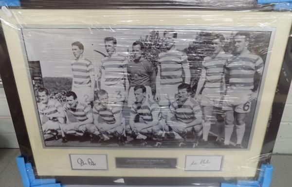 Celtic team print signed by John Clark and Stevie Chalmers - with COA on back