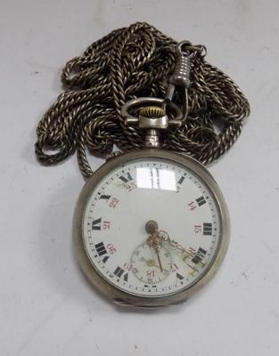 Antique gent's pocket watch (hallmark faint) on very long chain - 52""