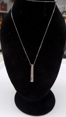 9ct white gold pendant on 9ct white gold chain