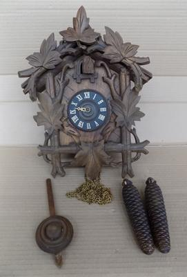 Vintage cuckoo clock, with brass weights and mechanism - not battery